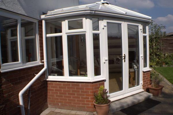 Hipped Back Victorian & Edwardian Combination Conservatory, White, Dwarf Wall, Roof Vent