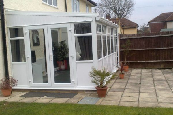 Lean To Conservatory, White, Full Height Smooth Panel