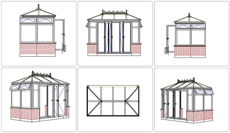 Mr Organ Hipped-back Edwardian conservatory CAD drawing