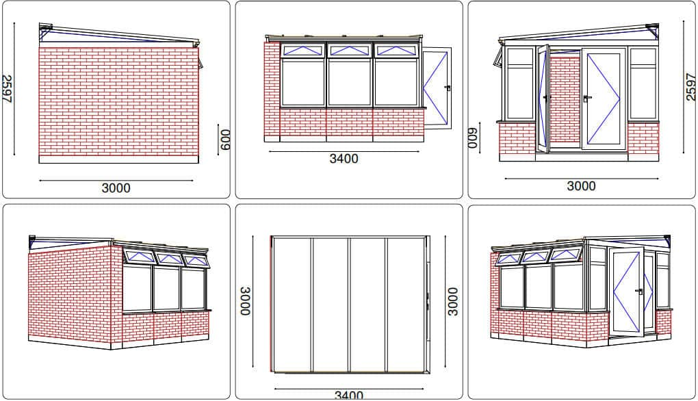 Lean-to conservatory CAD drawing - Mr Hard