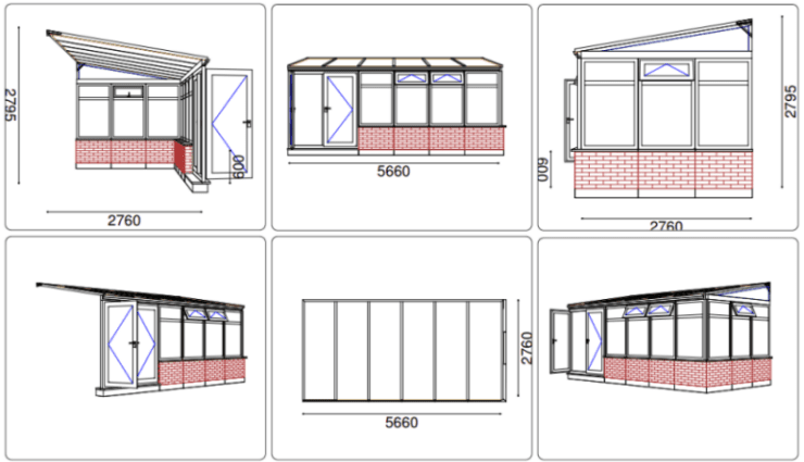 Mr Gilmour DIY Sunlounge Lean-to Conservatory CAD drawing